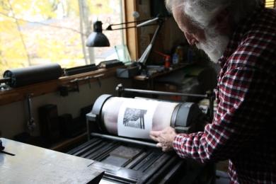 The Vandercook #4 proof press